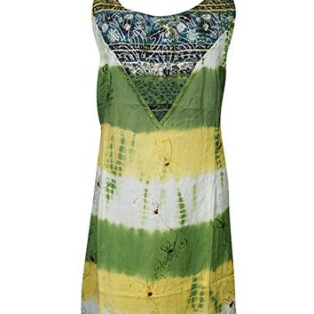 Mogul Womens Shift Tank Dress Tie Back Embroidered Bohemian Hippie Holiday Dresses