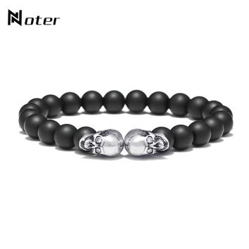 Noter Gothic Punk Antique Double Skull Bracelet Black Matte Beads Handmade Braclet For Mens Biker Jewelry pulseira caveira