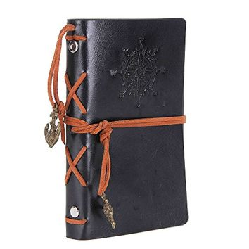 Leather Writing Journal Notebook,7 Inches Vintage Nautical Spiral Blank String Diary Notepad Sketchbook
