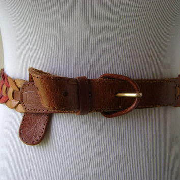 80s Color Leather Belt Vintage Linked Circles Earth Tones Ladies Belts Size 36 Waist Hippie Boho 1980s Accessories Woven Bohemian Women