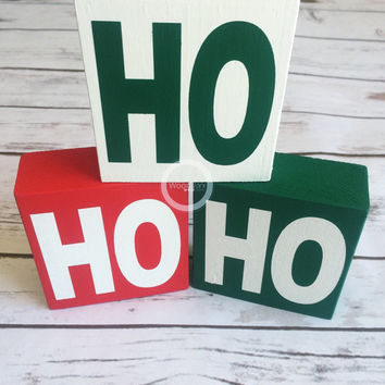 Christmas Gift, Ho Ho Ho, Santa, Merry Christmas, Wood blocks, Word Blocks, Hand painted, home decor, wood letters, shabby chic, Santa Claus
