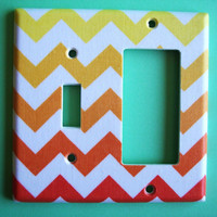Chevron Sunset Custom Switch Plate