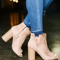 Peep Toe Booties- TAN - Thirty One Boutique