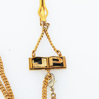 Vintage Man's Gold Chain Key Protector/ Pocket Watch Chain- Intials JP- Anson