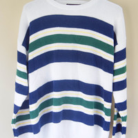 Vintage 80s Striped Cotton Sweater Fall Grunge Blue Green White Yellow