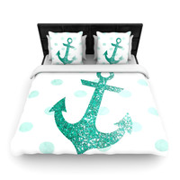 "Nika Martinez ""Glitter Anchor in Mint"" Teal Woven Duvet Cover"