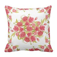 Watercolor Flowers Throw Pillow - Summer Blooms