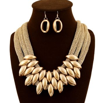 Golden Acrylic Tassels Cotton Rope Necklace With Matching Earings