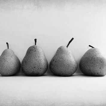 "Black and White Photography - pear still life photography - food minimal zen home decor - gray kitchen fine art print ""Four Pears"""