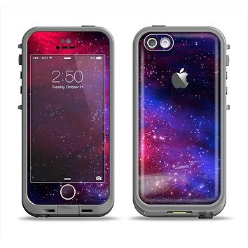 The Vivid Pink Galaxy Lights Apple iPhone 5c LifeProof Fre Case Skin Set