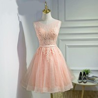 Pink Prom Dresses Scoop Neck Lace Applique Prom Dresses Short Bridesmaid Dresses Real Pictures