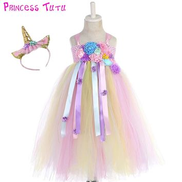 Bustle Unicorn Tutu Dress Sweet Candy Flowers Girl Birthday Party tutu Dresses Children Halloween Unicorn Costume With Headband