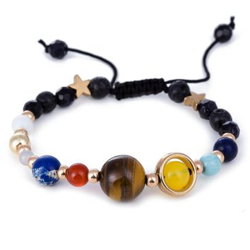 The Eight Universe Galaxy Moon Star Solar System Planets Bracelet Pluto Male Natural Lava Beads Stone Bracelets for Women Men