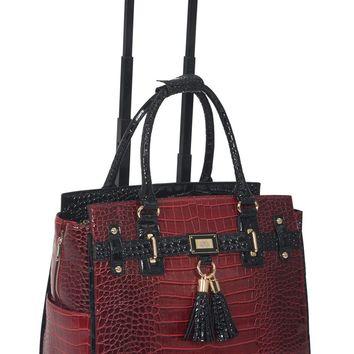 """THE WESTLAKE"" Alligator Rolling  iPad, Tablet or Laptop Tote Carryall Bag"