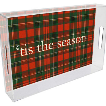 Red & Green Plaid Personalized Lucite Tray
