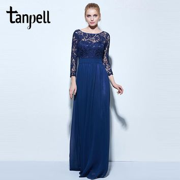 Tanpell long evening dresses dark navy lace 3/4 length sleeves a line floor length gown women bateau chiffon prom evening dress