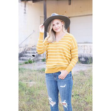 Laura V-Neck Striped Sweater, Mustard