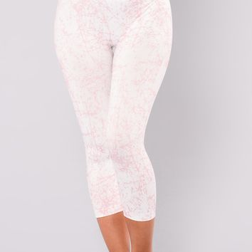 Cracked Marble Active Leggings - White/Blush