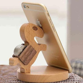 Practical Gift Cute Wood Horse Mobile Phone Holde