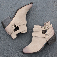 bc footwear communal suede cut out ankle bootie in taupe