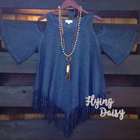 Blue Fringe Cold Shoulder Tunic Top