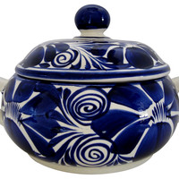 Mexican Tureen w/ Cobalt Designs
