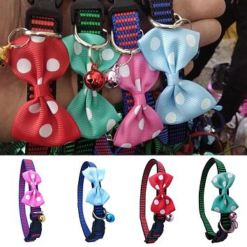 Cute Polka Dot Bow Tie Nylon Pet Dog Collar Adjustable Puppy Necklace with Bell