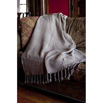 Ben and Jonah Sophia Throw Blanket With Fringe Twists (Chocolate/Taupe)