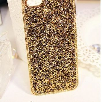 Deluxe Elegant Shiny Bling Gold Diamond Crystal Case Cover For Apple iPhone Samsung Galaxy Mobile Smart Phones (iPhone 5 5G 5S, Golden)
