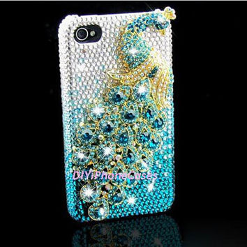 light blue crystals sparkly Peacock iPhone Case, iPhone 4 Case, iPhone 5 Case, iPhone 4s Case, HTC one X phone Case, samsung Galaxy s4 Cases