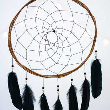 Black Dream Catcher - Wall hanging Dreamcatcher, Black Boho Dreamcatcher, Gothic Dream Catcher, Black Dreamcatcher, Black Bohemian
