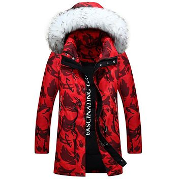 Mu Yuan Yang Fashion Mens Fatigues Duck Down Large Size Men's Long Down Jacket Winter Warm Snow Coats Overcoat XXL XXXL