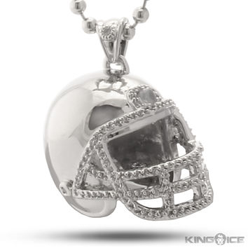 King Ice Rhodium CZ Football Helmet Necklace
