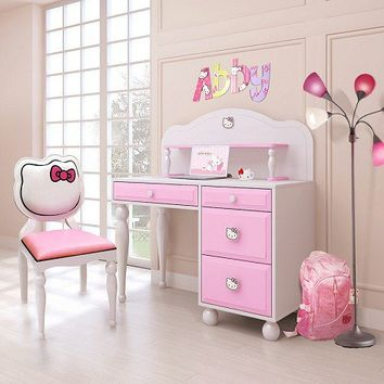 Hello Kitty Desk w/ hutch + Chair