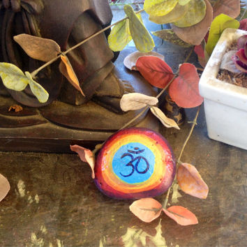 Om Symbol, hand-painted, sea rock, medium size, happy, energy, yoga, yogi, gift, paper weight, painted rock, stone