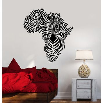 Vinyl Wall Decal Abstract Africa Continent Map Animal Zebra Stickers (3288ig)