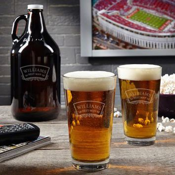 Timeless Wedding Pint Glass and Beer Growler Set
