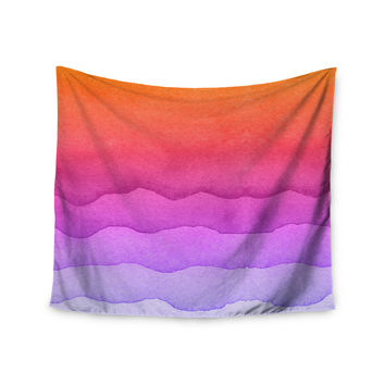 """Kess Original """"Ombre Sunset"""" Coral Abstract Wall Tapestry"""