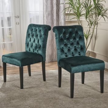 Deanna Tufted New Velvet Dining Chair with Roll Top (Set of 2)