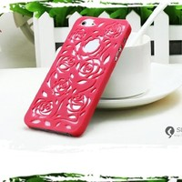 Lewire Cut Out Rose Flower Hard Protective Snap Phone Case for iPhone 5/5S Color Red