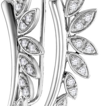 10kt White Gold Womens Round Diamond Floral Climber Earrings 1/4 Cttw