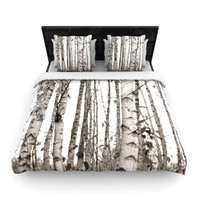 "Monika Strigel ""Birchwood"" Gray Forest Woven Duvet Cover"