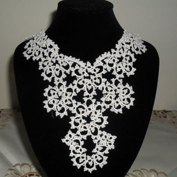 Tatted Lace Collar Necklace - Elegant Bride - Wedding White