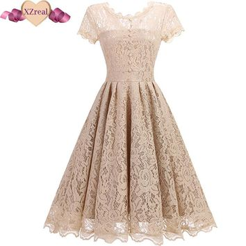 2017 Vintage Tunic Lace Dress Female Robe Casual 1950s Rockabilly Short Cap Sleeve V-Back Swing Summer Dresses