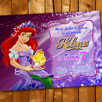 Princess Ariel Sparkle, Birthday Invitation, Birthday Party for little boy and little girl
