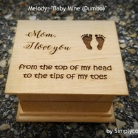 Mother's day gift, music box, wooden music box, mom gift, gift for mom, mom music box, last minute gift, Baby Mine, Xmas gift