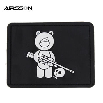 1pcs 80mm x 55mm Outdoor Tactical Uniform Titus Bear LOGO PVC Rubber Patch with Tape Back Black For Outfit Helmets Accessories