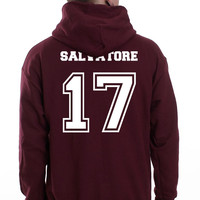 Salvatore 17 on Back Vampire Diaries Mystic Falls Timberwolves Unisex Pullover Hoodie