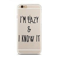 Clear Snap-On case for iPhone 5C - I'm Lazy & I Know It - Laziness - Funny - Hipster (C) Andre Gift Shop