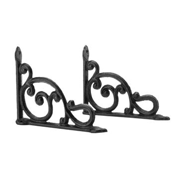 2pcs Cast Iron Antique Style Brackets Garden Braces Rustic Shelf Bracket Brown